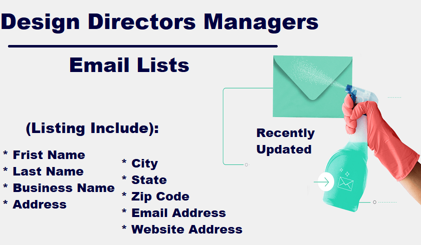 Design Directors Managers Email List
